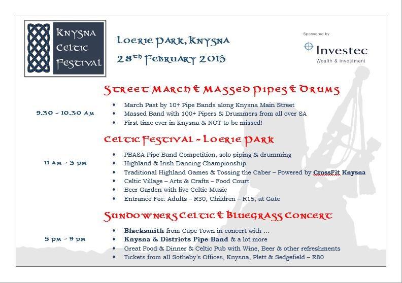 Knysna Celtic Festival Programme Flyer
